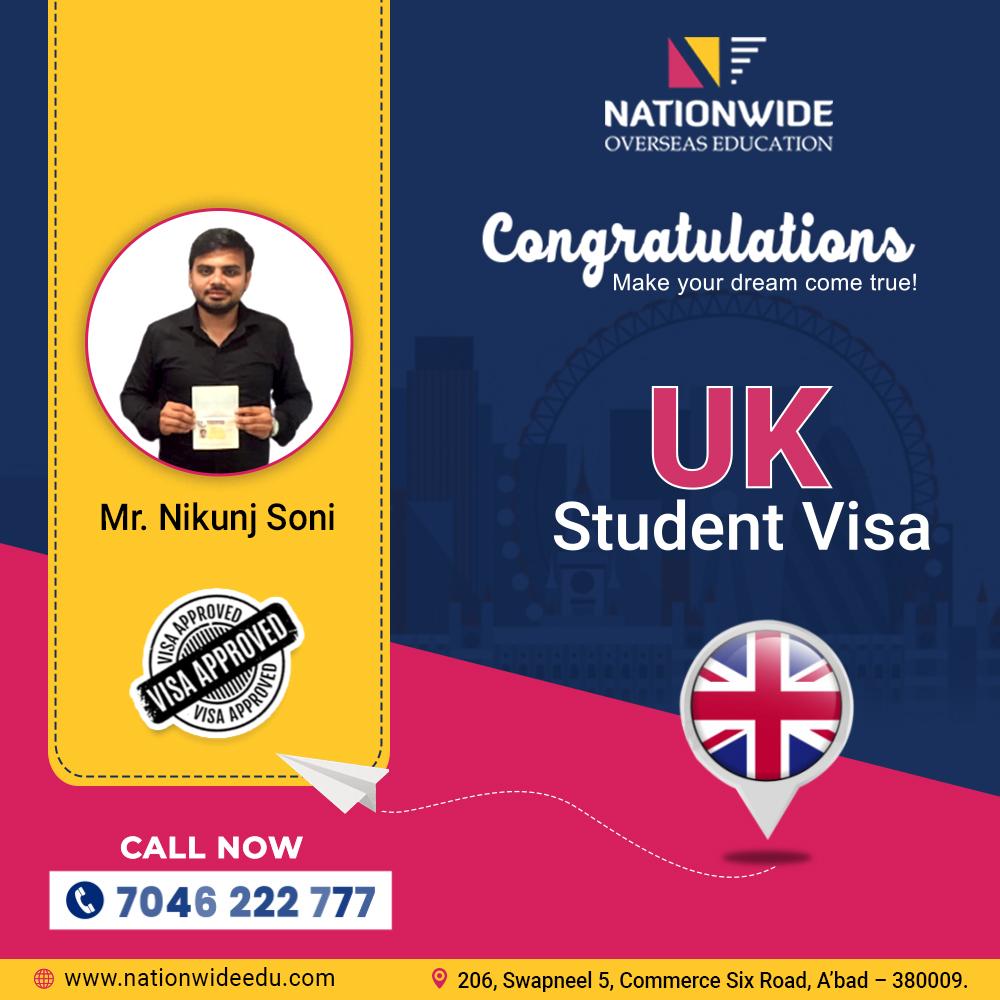 Congratulations to Nikunj Soni for getting UK Student Visa